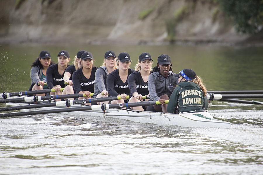 (from left to right) Valeria Torres, Raelyn Troche, Anna Listmann, Amber Anderson-Wells, Alexis Hewitt, Kennedi Sullivan, Melinda Anthony, Dimari Aldridge and Anica Hernandez of the novice eight/third varsity eight B team. Their team finished third in the novice eight/third varsity eight B category of the Sacramento State Rowing Invitational on Saturday, March 12 at Lake Natoma.