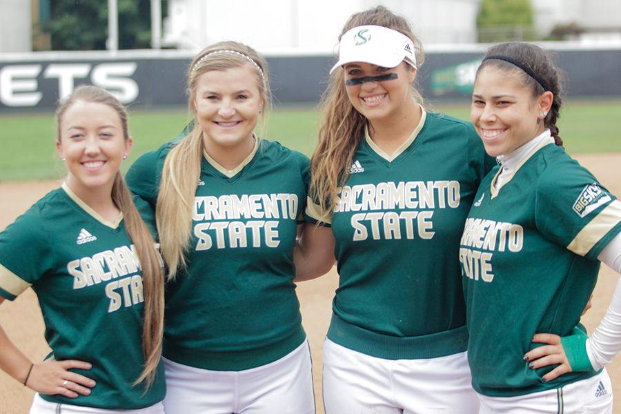 (Left to Right) Seniors Kayla Papez, Kaitlyn Yerby, Sasha Margulies and Kortney Solis pose for a picture during senior day against Portland state at Shea Stadium, Saturday, May 7.