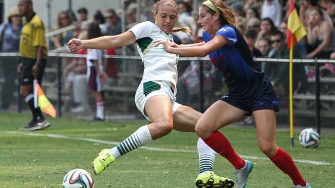 Forward Adaurie Dayak steals the ball from a Fresno State defender on Sunday, Sept. 13, 2015 at Hornet Field. The Hornets fell to the Bulldogs, 1-0. (Photo by Francisco Medina)