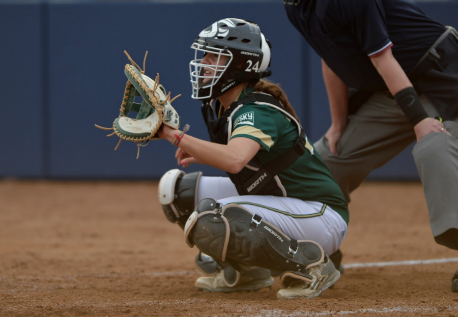 Sacramento State senior softball catcher Nikki Gialketsis won bronze with the Greek national team in the European Under-22 tournament in 2014. (Photo by Bob Solorio/Sac State Athletics)