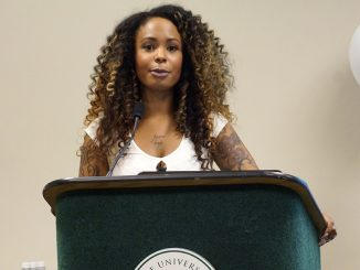 Motivational speaker Kim Katrin Milan, founder of The People Project, speaks at the Third Annual Empowering Women of Color Conference in the Orchard Suite at Sacramento State's Univesity Union on Friday, Oct. 21, 2016. (Photo by Marivel Guzman)