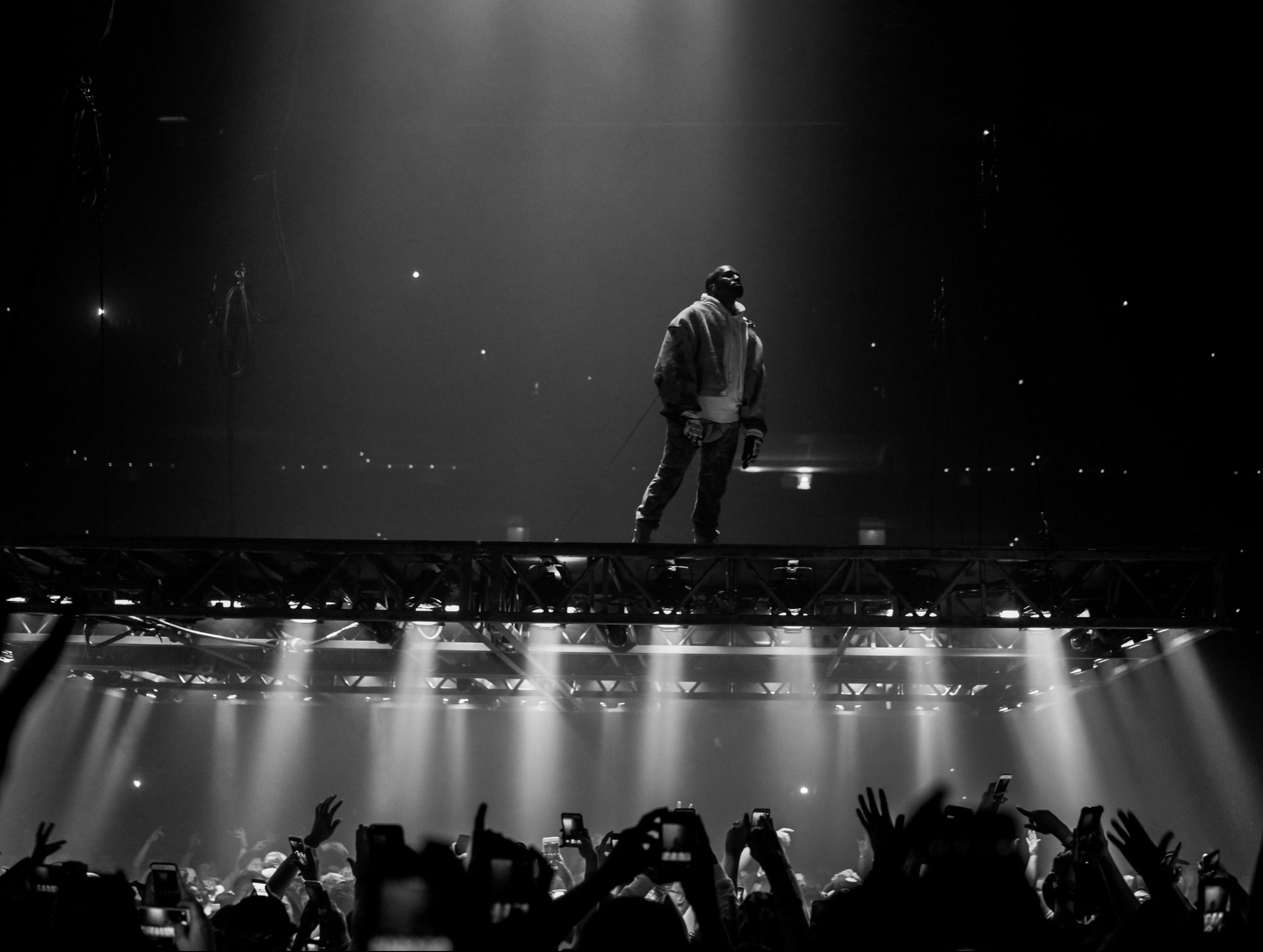 Kanye West performs on the hovering platform at his concert in Boston  on Sept. 9, 2016. (Photo by Kenny Sun / Flickr)