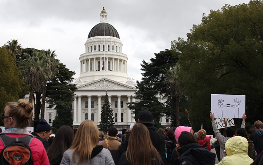 Tens of thousands of demonstrators fill Capitol Mall during the Women's March on Sacramento at the State Capitol on Saturday, Jan. 21, 2016. (Photo by Barbara Harvey)