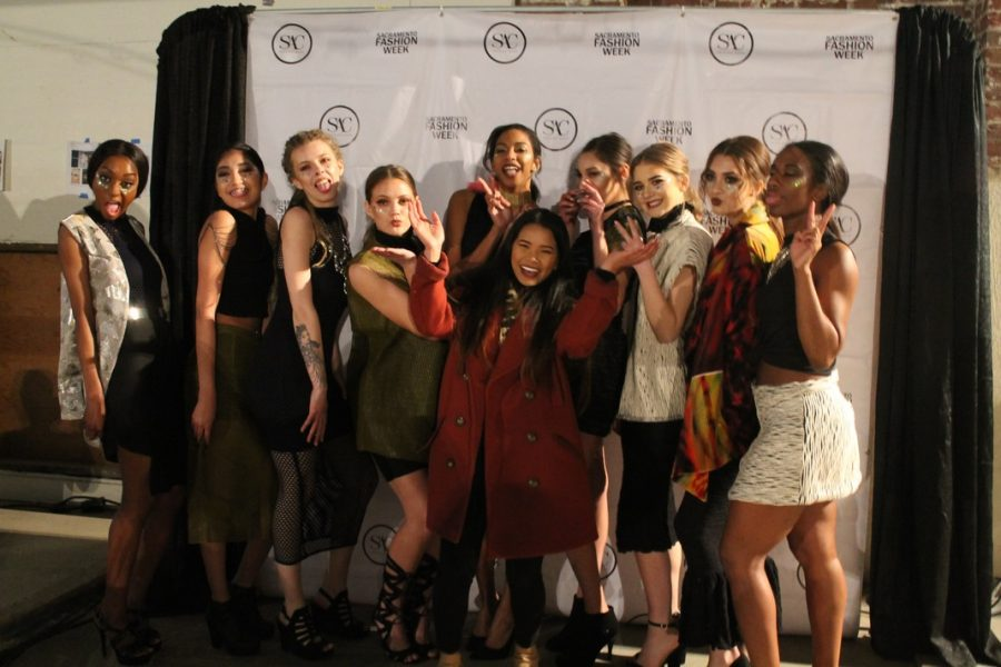 Sac+State+alumna+Theresa+Truong+joins+her+models+in+their+final+walk+of+the+show+on+Friday%2C+Feb.+24+at+Sacramento+Fashion+Week.+%28Photo+by+Sami+Soto%29