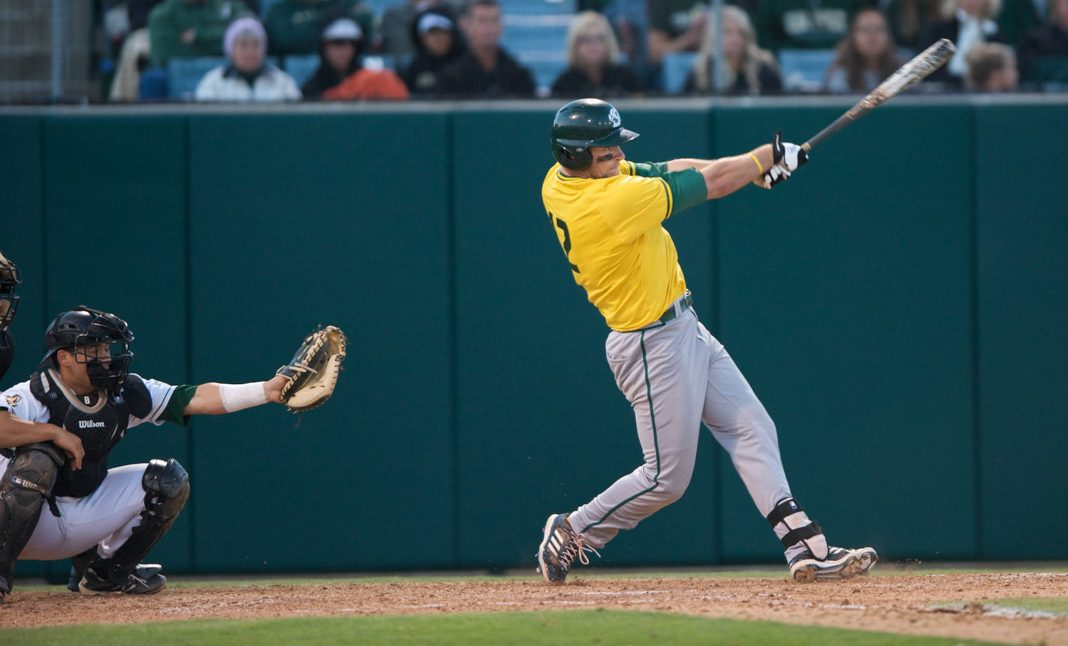 Sacramento State alumnus Rhys Hoskins earned Western Athletic Conference Player of the Year, first team All-WAC, second team All-West Region by Rawlings and named third team All-American by Collegiate in 2014. (Photo courtesy of Bob Solorio/Sac State Athletics)