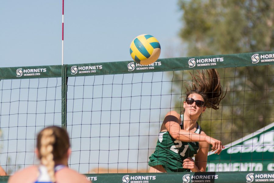 Sacramento+State+senior+Madeline+Cannon+spikes+the+ball+for+a+point+against+Boise+State+Sunday+at+the+Livermore+Community+Park.+%28Photo+by+Matthew+Dyer%29