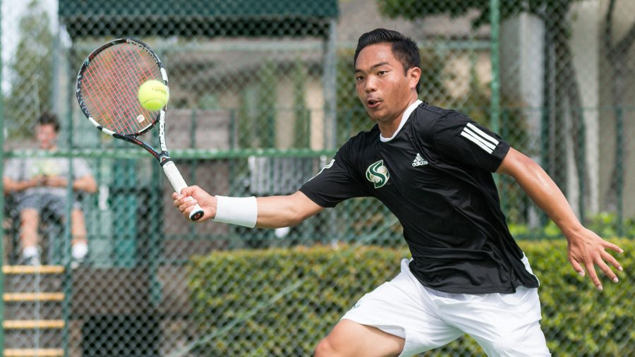 Sacramento+State+freshman+Hermont+Legaspi+forehands+the+ball+during+a+doubles+match+against+Yale+Sunday+at+Rio+Del+Oro+Racquet+Club.+%28Photo+by+Matthew+Dyer%29