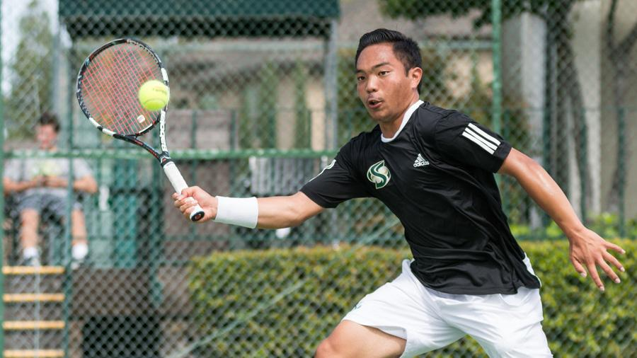 Sacramento State freshman Hermont Legaspi forehands the ball during a doubles match against Yale Sunday at Rio Del Oro Racquet Club. (Photo by Matthew Dyer)
