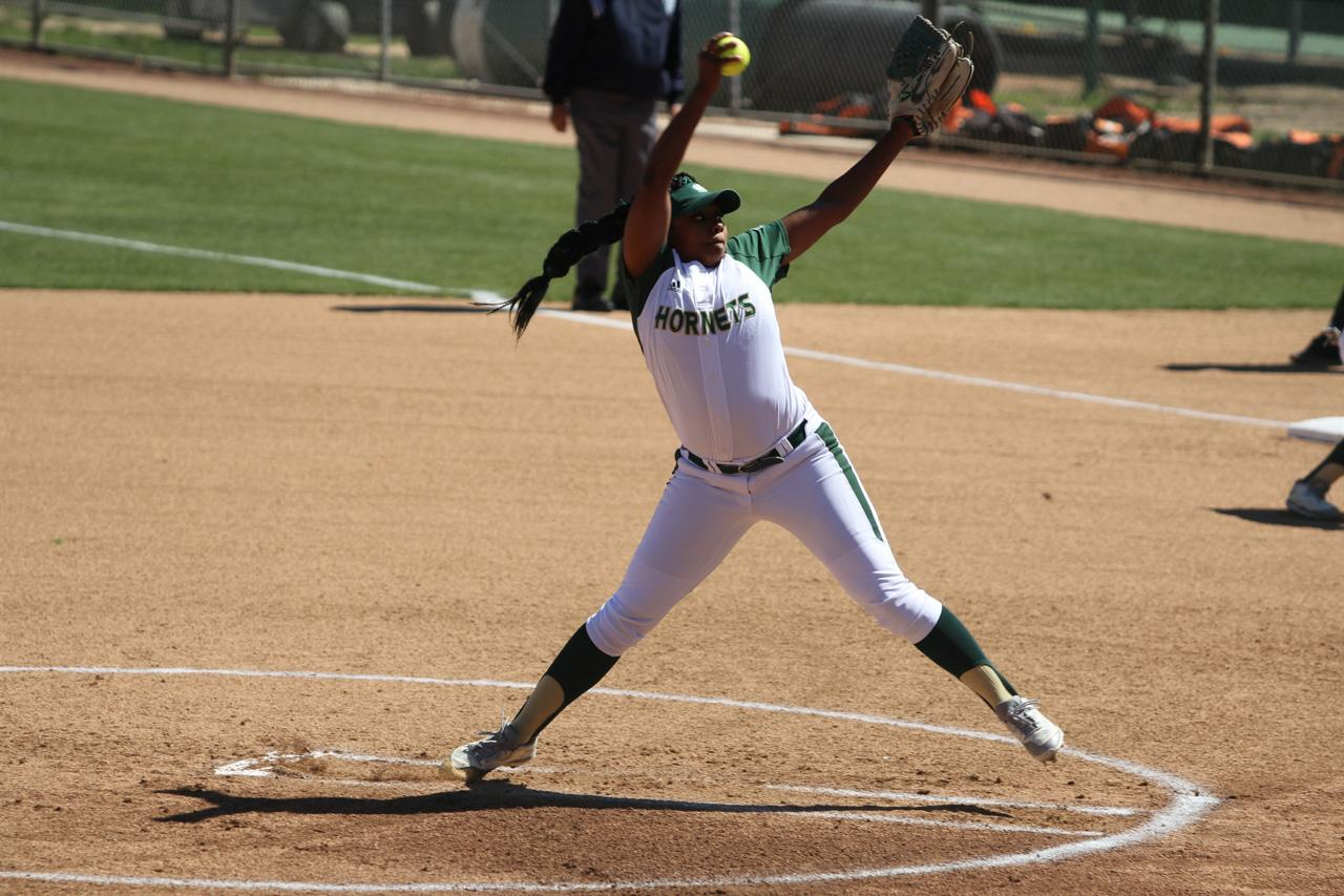 Sacramento State junior Celina Matthias pitchs the ball to home plate against Idaho State Friday at Shea Stadium. (Photo by Myha Sanderford)