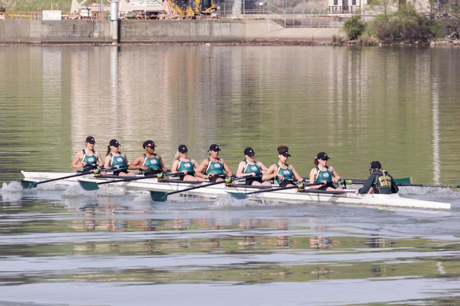 Sacramento State women's rowing varsity eight placed  first at the Sacramento State Invitational Saturday at Lake Natoma. (Photo by Andre Newell)