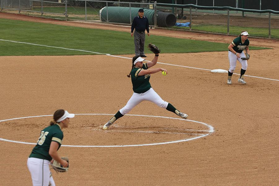 Sacramento State senior pitcher Taylor Tessier winds up for the first pitch of the game against Seton Hall Tuesday at Shea Stadium. (Photo by Cassie Dickman)