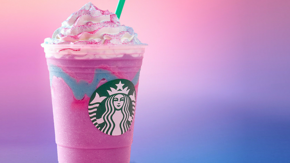 Starbucks' new Unicorn Frappuccino features blended creme, mango syrup and layered with sour, fruity blue drizzle. The limited-edition concoction is available until April 23 in the United States, Canada and Mexico. (Photo courtesy of Starbucks)