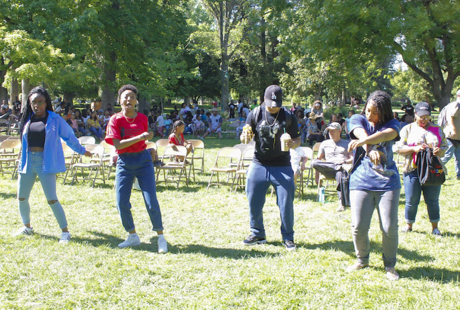 Sacramento State's first Black Family Day on April 29 feature live music, which leads to attendees dancing throughout the event in the Main Quad despite the heat. (Photo by Rin Carbin)