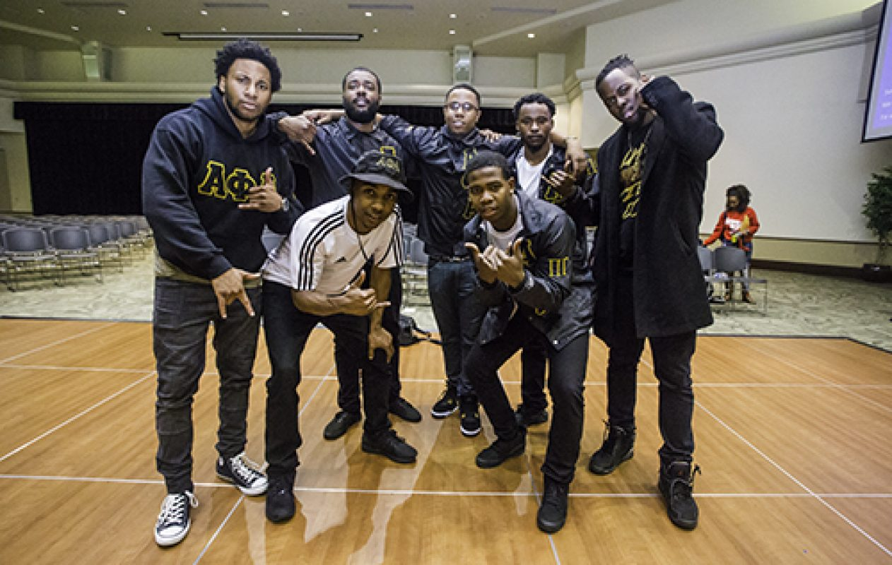 The historic National Pan-Hellenic Council critique and oversee the 4th Annual Capitol City Stroll-Off on April 7 in the University Union Ballroom. The panel judged based on synchronization, originality, and style of clothing for each of the three rounds. (Photo by Nicole Fowler)