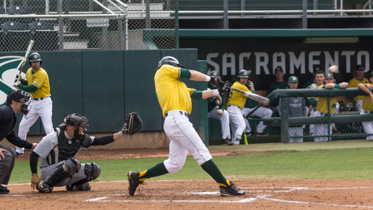 Sacramento State sophomore James Outman swings and makes contact against Grand Canyon Friday at John Smith Field. (Photo by Max Jacobs)