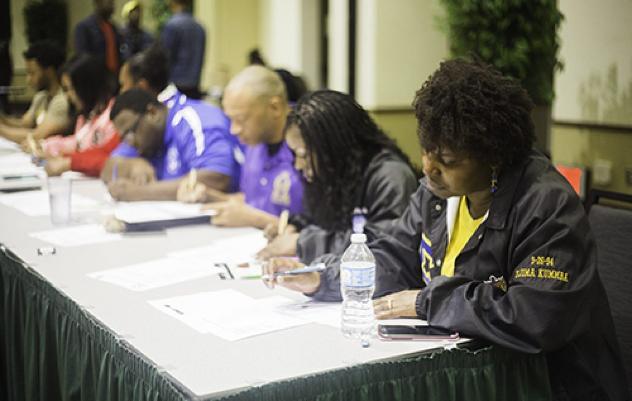 Leading members of the National Pan-Hellenic Council serve as judges for the 4th Annual Capitol City Stroll-Off. The event's proceeds will benefit March of Dimes, an organization that raises awareness for premature births. (Photo by Nicole Fowler)