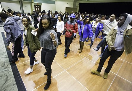 Crowd members take to the dance floor during intermission at the 4th Annual Capitol City Stroll-Off April 7 in the University Union Ballroom. (Photo by Nicole Fowler)