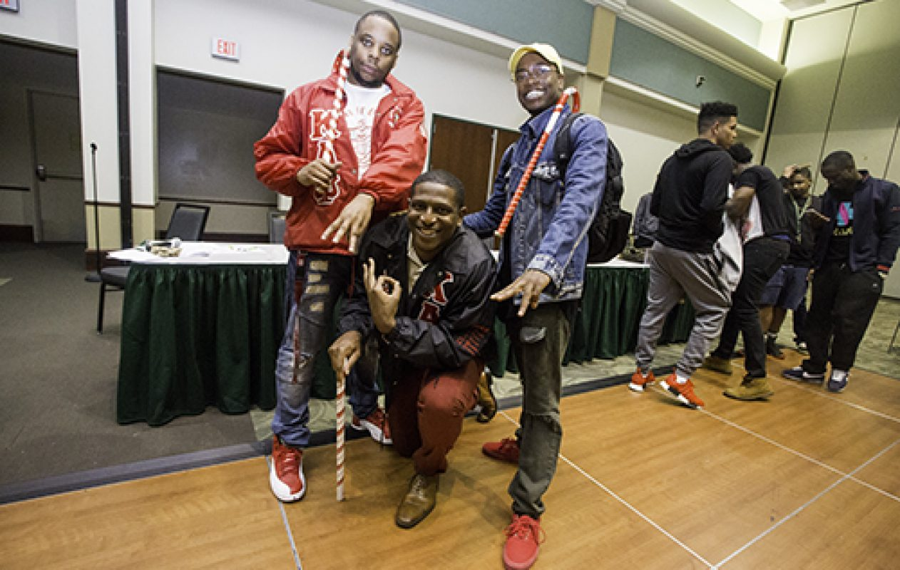 Kappa Alpha Psi fraternity placed fourth in the 4th Annual Capitol City Stroll Competition held at the University Union Ballroom. Proceeds from the event will be donated to the March of Dimes Foundation. (Photo by Nicole Fowler)WEB_3243