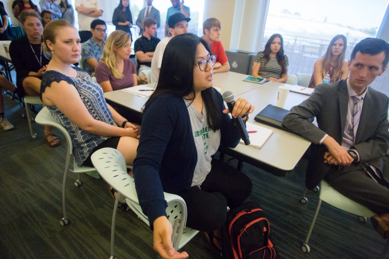 Pubic Relations major Lyka Manalo participates in the question-and-answer portion of the first Millennial Caucus Tuesday in The Well's Terrace Suite at Sac State (Photo by Nicole Fowler)
