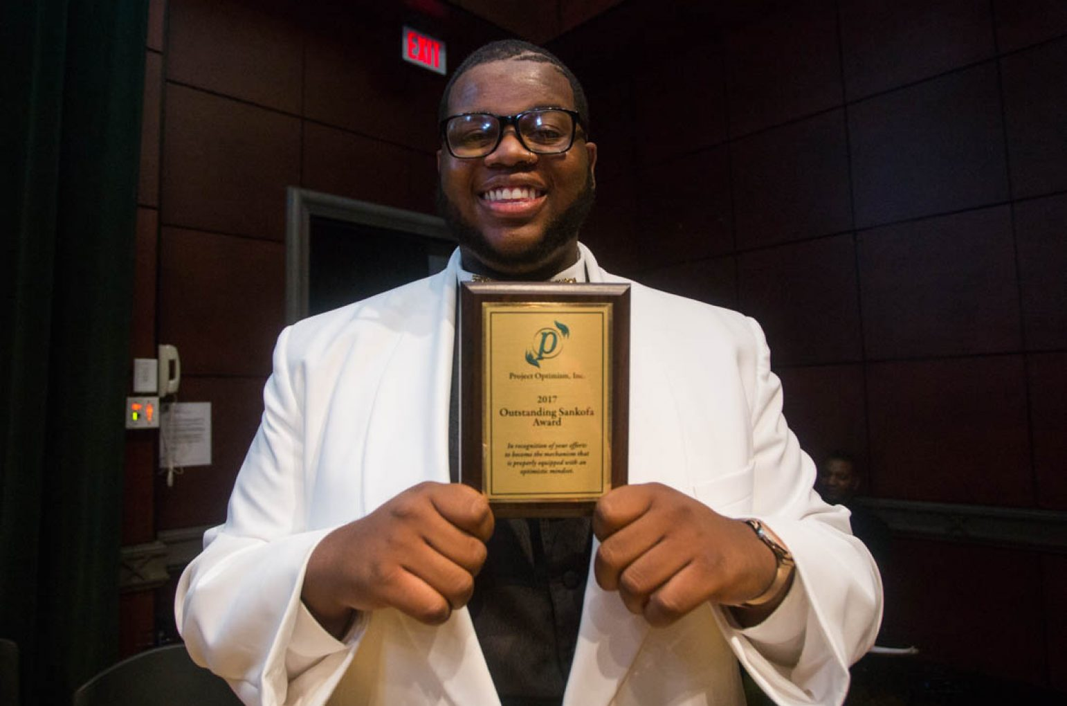 Sacramento State junior Donavin Butler was one of the three recipients of the 2017 Sankofa Awards at the first Black & White Gala on Sunday, which was hosted by Project Optimism. The program focuses on giving back to the community and mentoring at-risk youth. (Photo by Nicole Fowler)