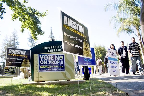Supporters of different candidates and propostions in the November election displayed campaign signs in the Library Quad.: