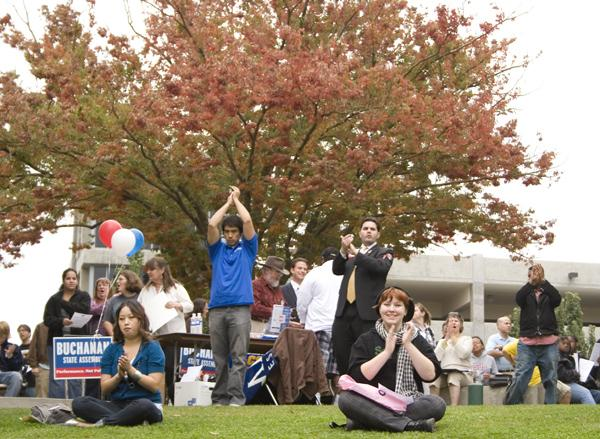 Students gathered at Serna Plaza listened to political supporters and guest speakers Bill Durston and Kevin Johnson Oct. 30: