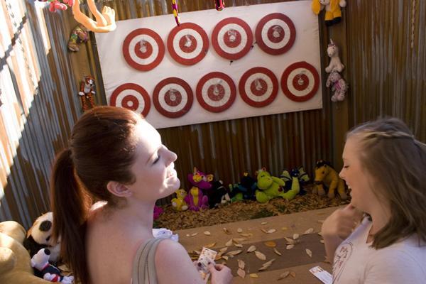 Freshman psychology majors Mandy Perucchi and Kailey Kokridge trying to hit the