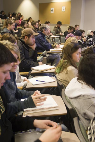 Limited seating in professor Elaine O'Brien's Art 1B class leaves students with little to no elbow room.: