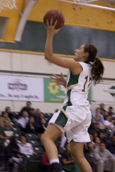 Mallorie Franco drives to the hoop during the second half.: