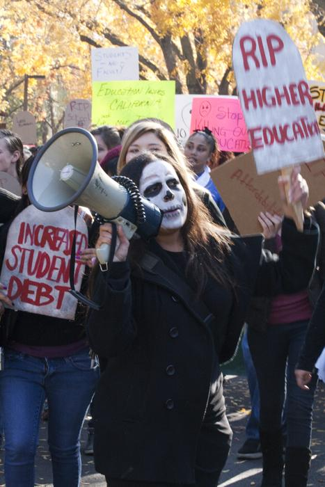 Death of higher education:Students protest at the end of the fall semester.:File Photo