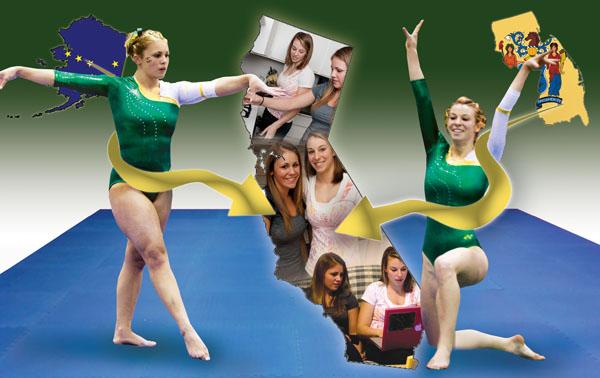 Gymnastics Graphic:Jasmine Lipka (left) and Amanda Blauvelt (right) are members of the Sac State gymnastics team. Each traveled thousands of miles to be Hornets.:Tina Horton & Megan Harris - State Hornet