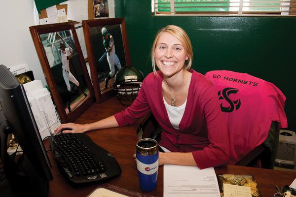 Tina Westerhold:Tina Westerhold earned February Employee of the Month for her work in the athletics department.:Tina Horton State Hornet
