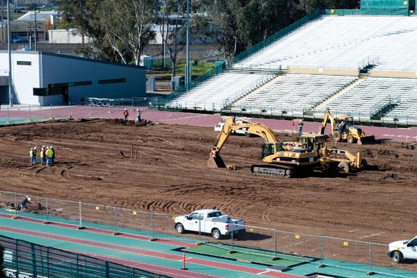 Stadium:Hornet Stadium is being renovated. The synthetic field will pave the way for more football at the stadium.: Yana Yaroshvich State Hornet