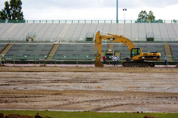 Field Turf:The Hornet Stadium?s field is being replaced with artficial turf. Work is scheduled to be completed in May.:Tina Horton State Hornet