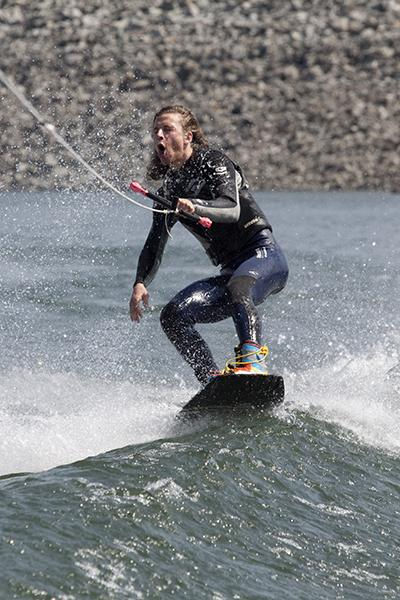 Wakeboarding 2:Senior marketing major Mitch DeAngelis boards at practice March 24.:Robert Linggi State Hornet
