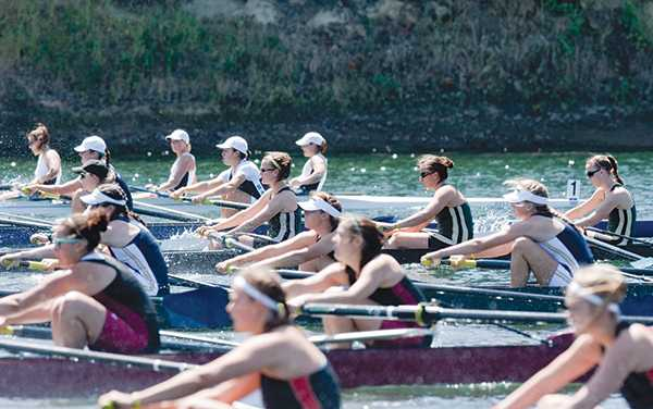 Rowing varsity eight:Sacramento State?s varsity eight boat rows during the final title race on Sunday at Lake Natoma. Sac State won the race with a time of 6:56.5.:Robert Linggi State Hornet