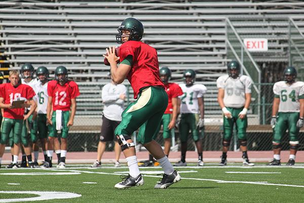 QB :Senior quarterback McLeod Bethel-Thompson throws a pass in a scrimmage during training camp:Ashley Neal - State Hornet