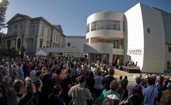 Crocker Art 1:People gather outside the Crocker Art Museum for its grand reopening on Sunday.:Steven Turner - State Hornet