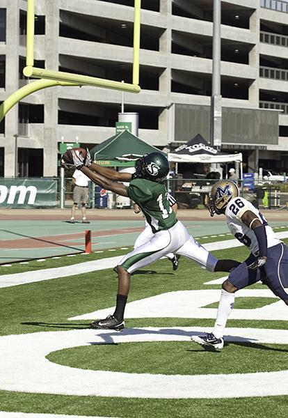 morrisprofile:Freshman wide receiver Morris Norrise catches the ball in the endzone against Montana State University on Oct. 2.:State Hornet File Photos