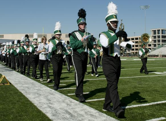 sacramento state marching band:The Marching band marches off the field and back to the stands after their halftime performance on Oct. 2. The band performs multiple songs during each halftime. :Steven Turner - State Hornet