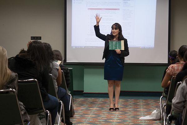 Lambda Theta Nu:During the Academics workshop, Adrianna Cervantes asks the young women