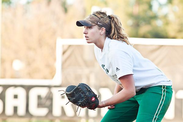 Alyssa Nakken:Alyssa Nakken junior, stands at first base during a practice with her team. Nakken is one of the three softball team captains for the 2011 season. :Ashley Neal - State Hornet
