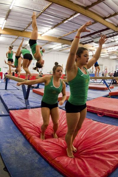 gymnast1:Freshman Kailey Hansen, a transfer from the University of Washington, is already making a positive impact on the gymnastics team with her first-place against Utah State on Feb. 11. :Steven Turner - State Hornet