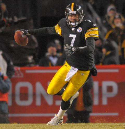 Super Bowl column Roethlisberger MCT:Pittsburgh Steelers' quarterback Ben Roethlisberger scrambles in the third quarter. The Steelers defeated the New York Jets 24-19 to win the AFC Championship game on Jan. 23 at Heinz Field in Pittsburgh.:Doug Kapustin - McClatchy Tribune