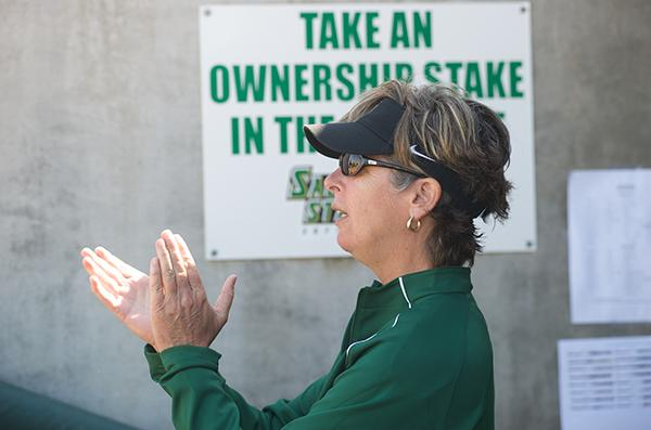 sb:Softball head coach Kathy Strahan has been at Sac State for 18 years. She has also been a softball coach at Cal State Dominguez and San Jose State University.:Photos Courtesy of Bob Solorio