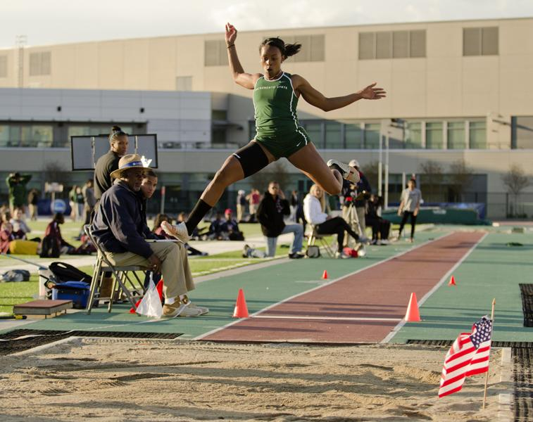 Junior Natalia Wright finished third in the women long jump with a jump of 19 feet 6 inches.