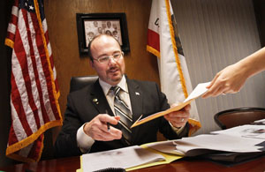 California Assemblyman Tim Donnelly, the only member of the Tea Party in the Assembly, works in his office in Sacramento, California, on February 23, 2011. (Anne Cusack/Los Angeles Times/MCT)