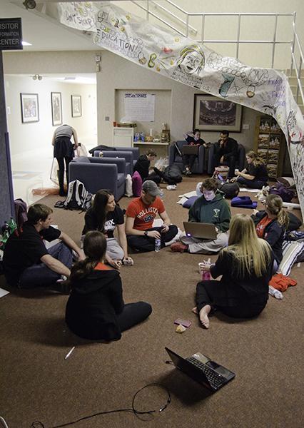 Student protesters occupy the lobby of Sacramento Hall on Thursday night.