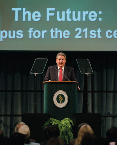 During the 2011 Fall address, CSUS President Alexander Gonzalez talked about the university's need to publicize it's success stories, and prepare for the future of education.