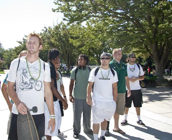 Several football players came to the rally on Thursday Sept. 22, 2011 outside the Hornet Bookstore. From left to right, Jeff Fleming, Morris Norirse, Markell Williams, Joe Larche, Jeff Badger, Smith Heath, and DJ Maciel.